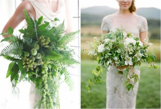 Белый букет невесты с зеленью