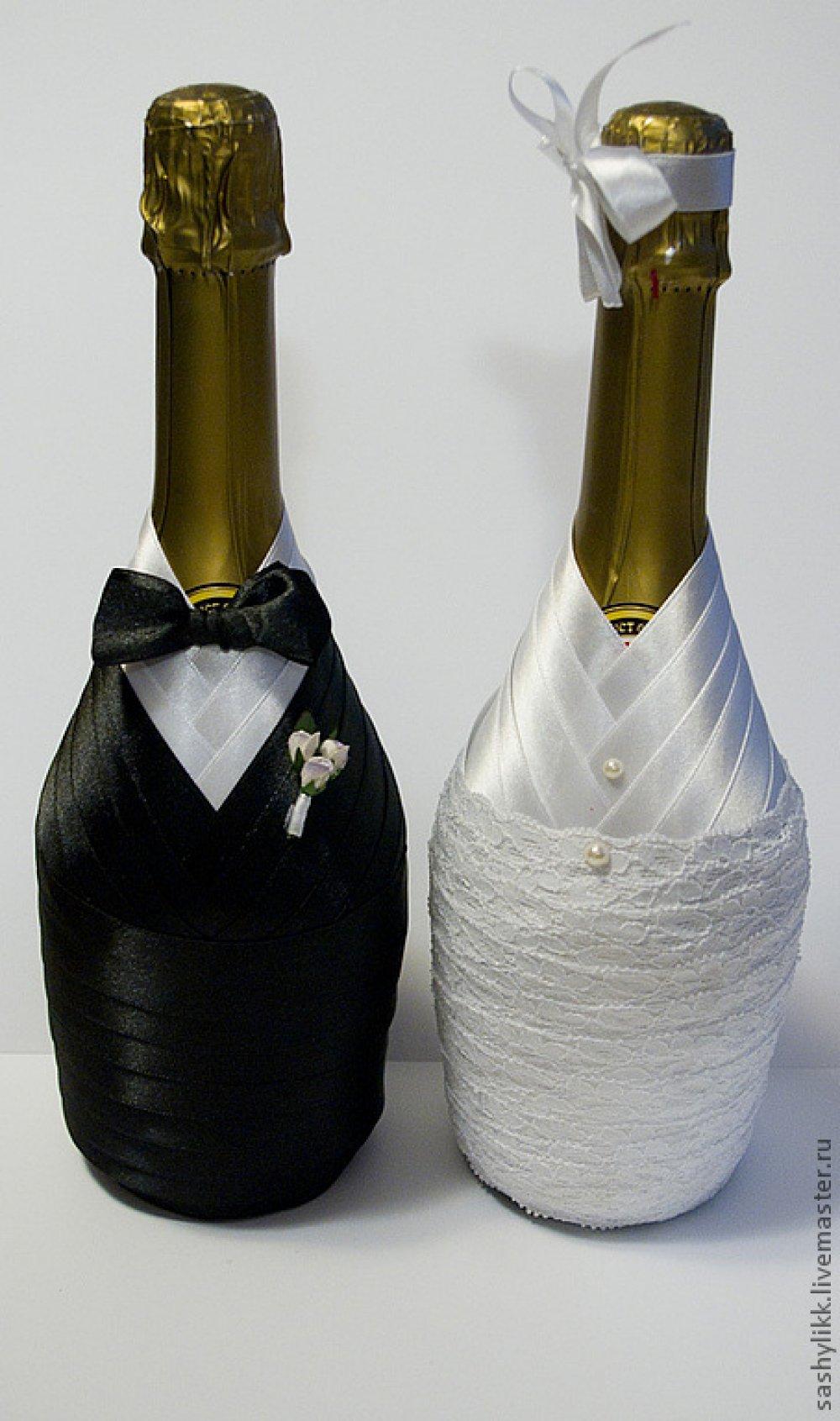 Как украсить бутылку коньяка на свадьбу своими руками