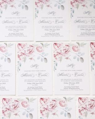 Свадебные приглашения в оттенках розового