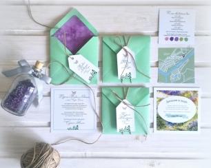 Лавандовые нотки в конвертах мятного цвета