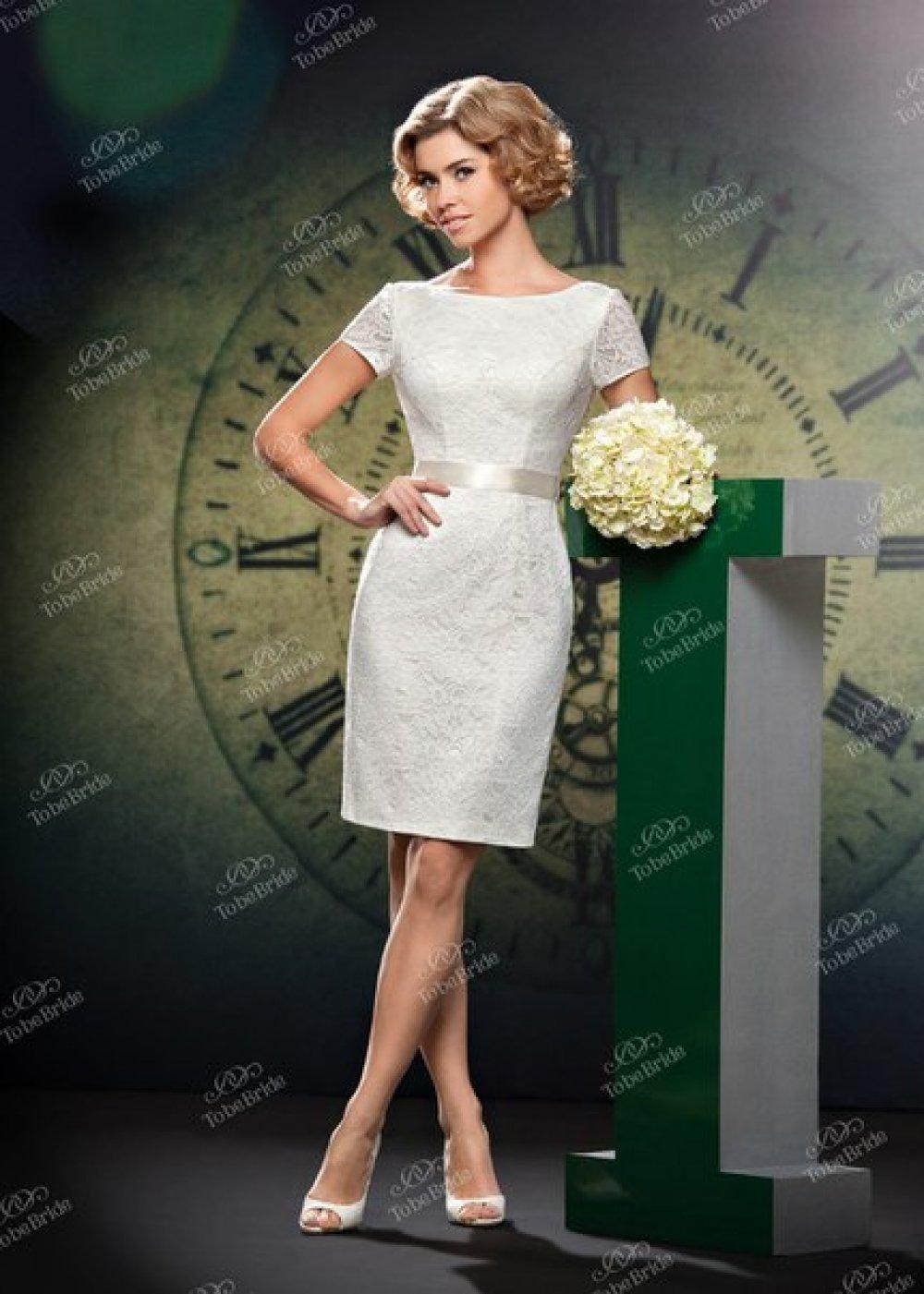 Фото короткое свадебное платье футляр