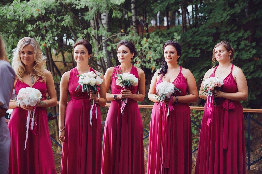 Бордовые платья фото подружек невесты