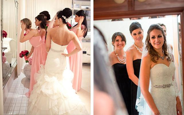 фото невесты и подружек в зеркале