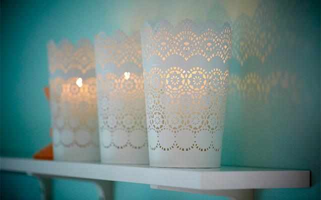 подсвечники IKEA в декоре свадьбы