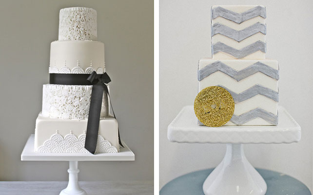 12 идей для незабываемой свадьбы, монохромный свадебный торт