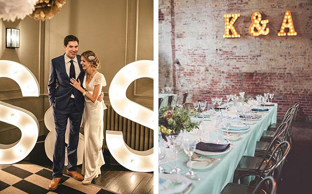12 идей для незабываемой свадьбы, светящиеся буквы
