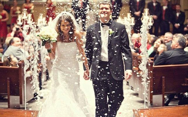 12 идей для незабываемой свадьбы, искусственный снег на свадьбе
