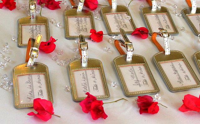 подарки для гостей на свадбе, багажные бирки