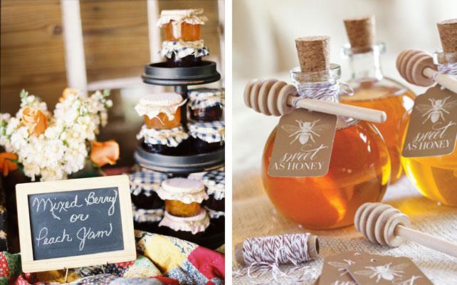 подарки для гостей на свадбе, варенье и мед