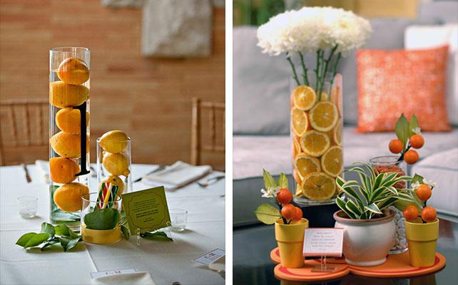 вазы с наполнителем в свадебном декоре