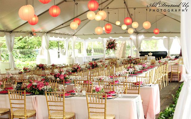 бумажные светильники в свадебном декоре