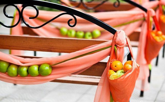 осенняя свадьба, яблоки в декоре