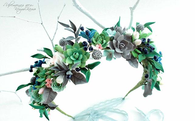 Свадебные аксессуары из полимерной глины: плюсы и минусы, венок из полимерной глины от Кати Когут
