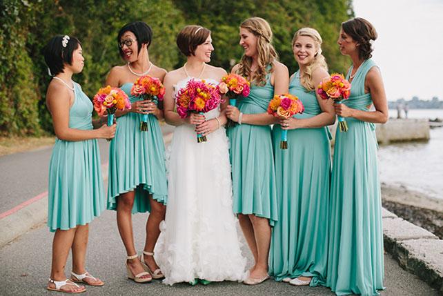 Бирюзовые платья фото подружек невесты