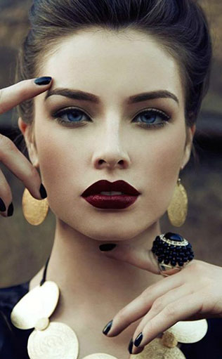 макияж с бордовыми губами фото