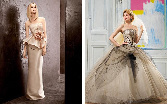 Кремовый свадебное платье