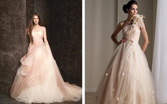 Персиковые свадебное платье