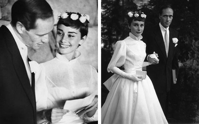 Одри Хепберн на свадьбе в венке