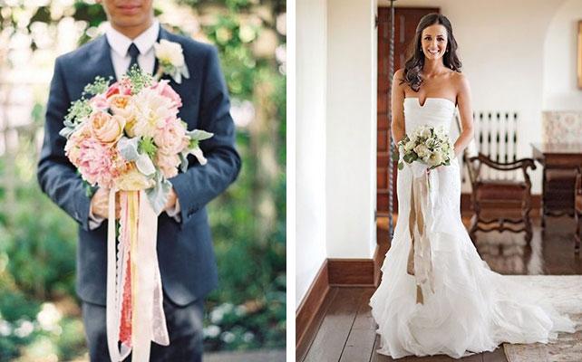 Букет с лентами на свадьбе