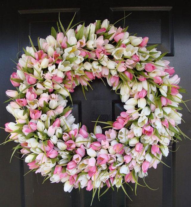 тюльпаны в свадебном декоре, венок из тюльпанов