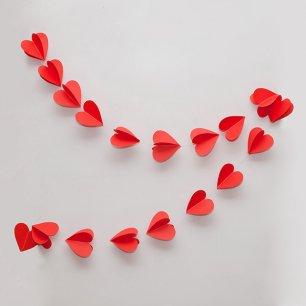 Как сделать гирлянду сердечек из бумаги