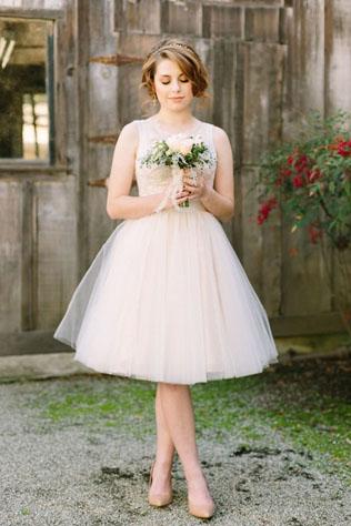 Свадебный образ в коротком платье