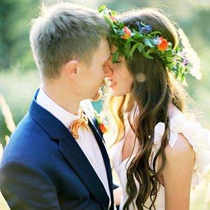 Оранжевая свадьба в рустикальном стиле