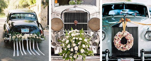 свадебный кортеж, украшенный цветами