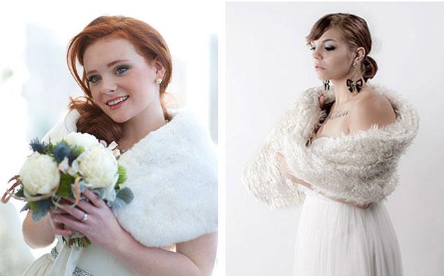 Теплая накидка для невесты на зимней свадьбы