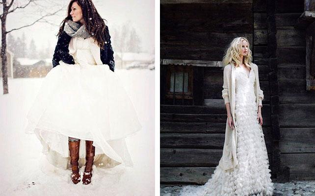 Повседневная одежда для невесты на зимней свадьбы