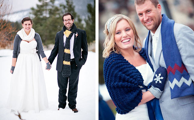 Цветные варежки невесты на зимней свадьбе