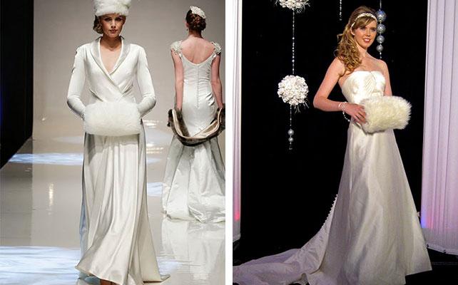 меховая муфта невесты на зимней свадьбе