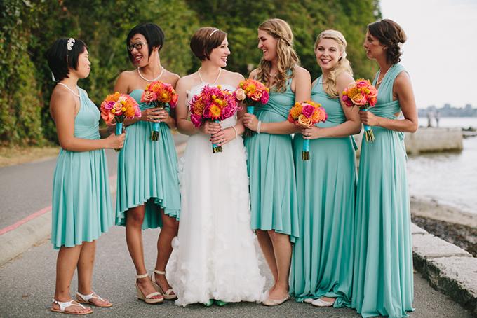 Платья подружек невесты бирюзовые