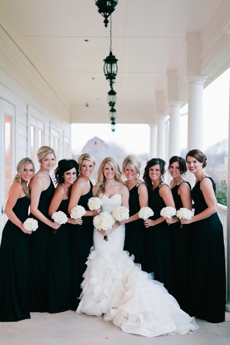 Black dress day wedding