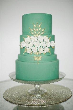 Зеленый свадебный торт