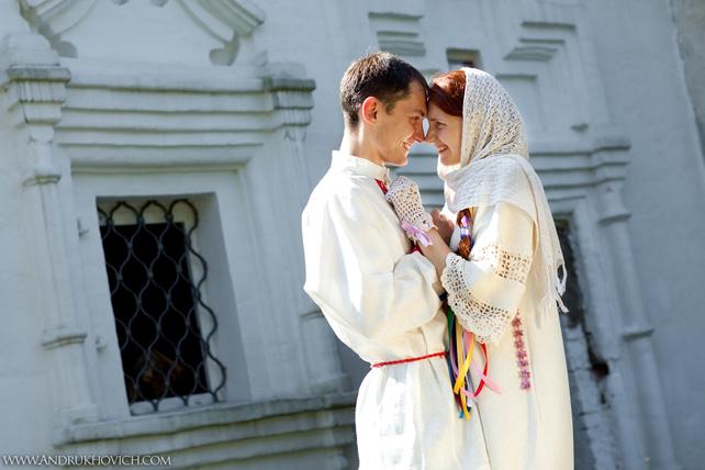 Свадьба в русском народном стиле, жених и невеста