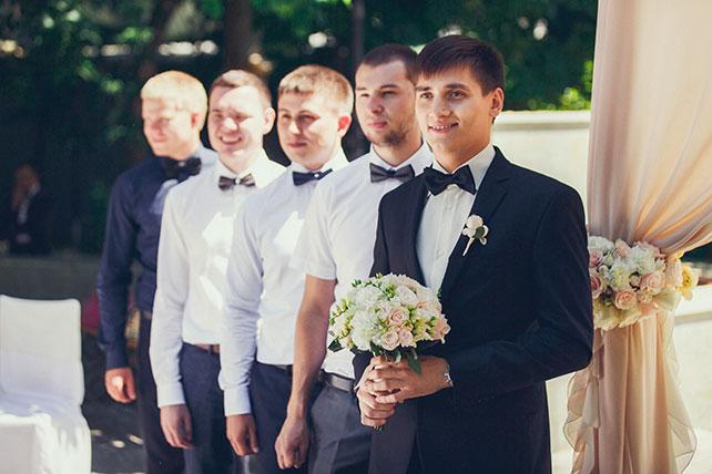 свадьба в пастельных тонах, друзья жениха