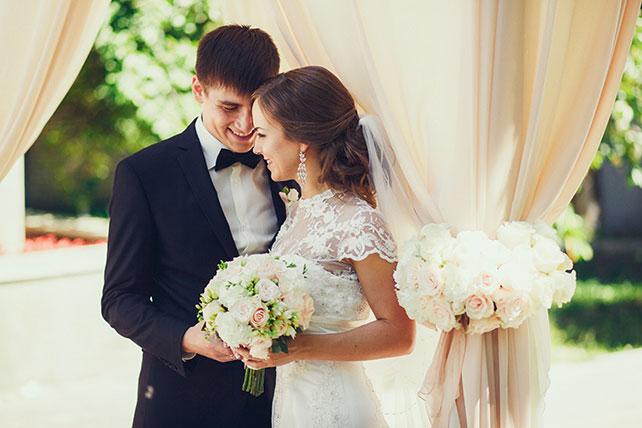 свадьба в пастельных тонах, жених и невеста