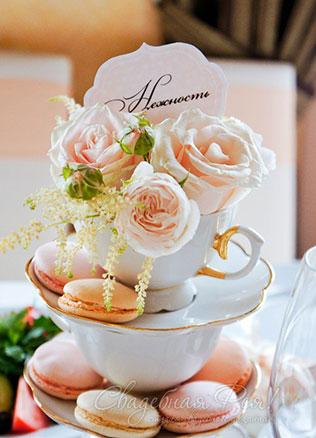 свадьба в пастельных тонах, чашки в декоре