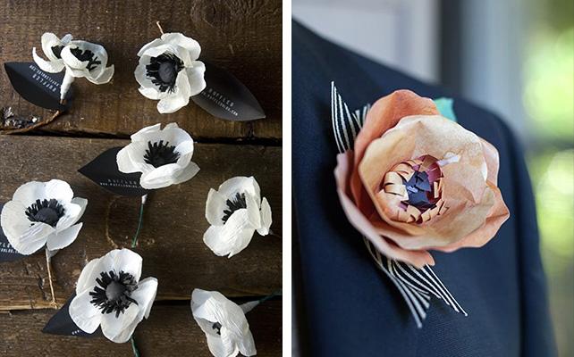 бутоньерка бумажный цветок
