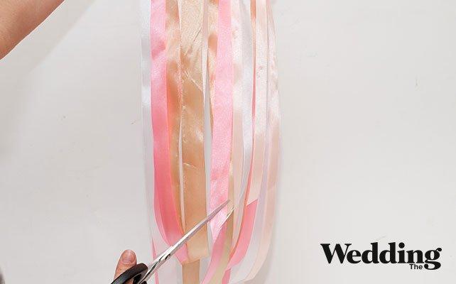 как сделать люстру из лент, подрезать ленты