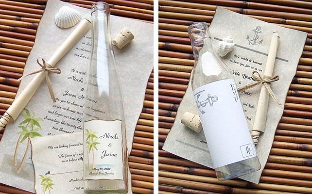Как сделать приглашение в бутылке для свадьбы в морском стиле
