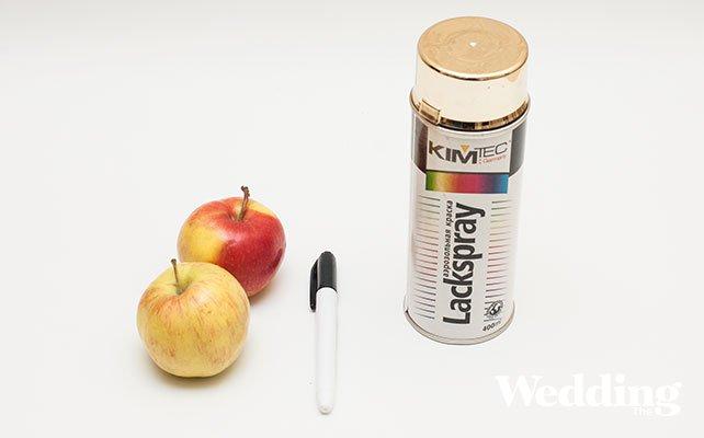 рассадочная карточка из яблока, необходимые материалы